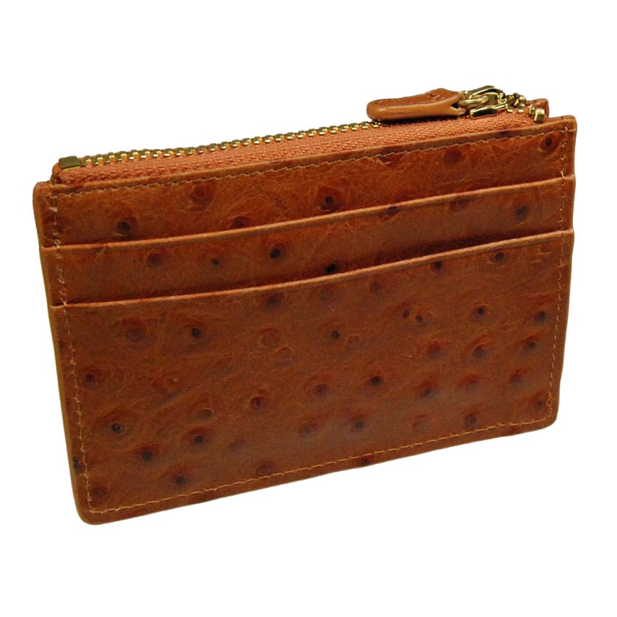 Castello Italian Ostrich Print Leather Top Zip Cardholder...