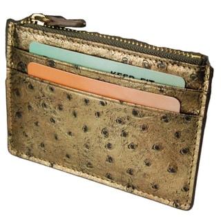 Castello Italian Ostrich Print Leather Top Zip Cardholder