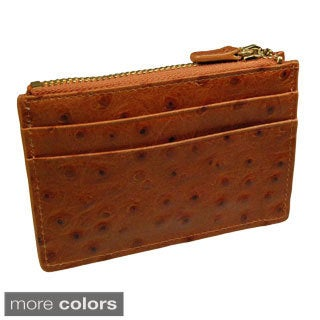Castello Italian Ostrich Print Leather Top Zip Cardholder