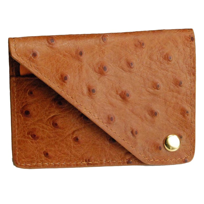 Castello Italian Leather Ostrich Print Flap Cardholder (C...