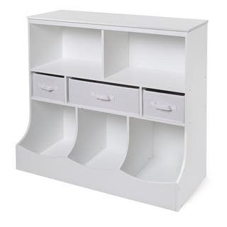 White 3 Basket Storage Bin Unit