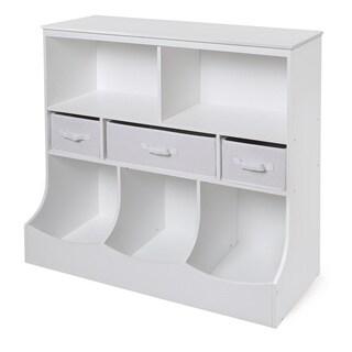White 3 Basket Storage Bin Unit