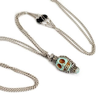 Sweet Romance Turquoise Sugar Skull Silver Necklace
