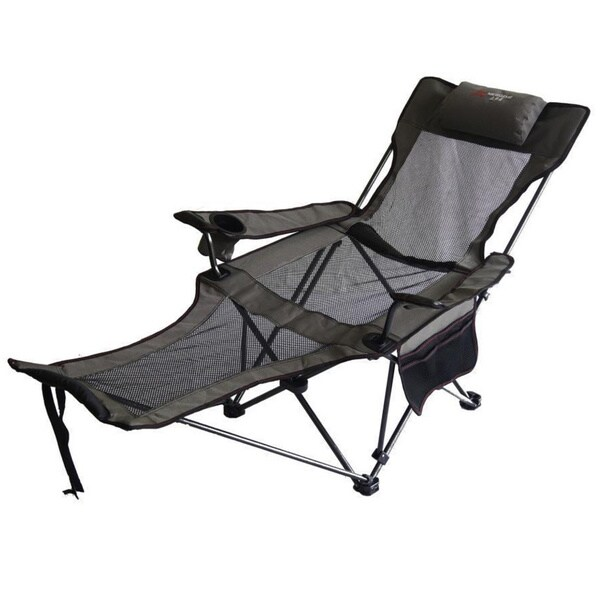 Portable Slate Grey Mesh Lounger Reclining Chair