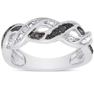 Finesque Sterling Silver Diamond Accent Design Ring