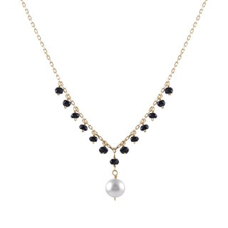 14k Yellow Gold Freshwater Pearl Black Spinel Necklace (6-7 mm)