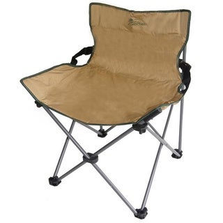 Portable Low BackRest Armless Beige Folding Chair