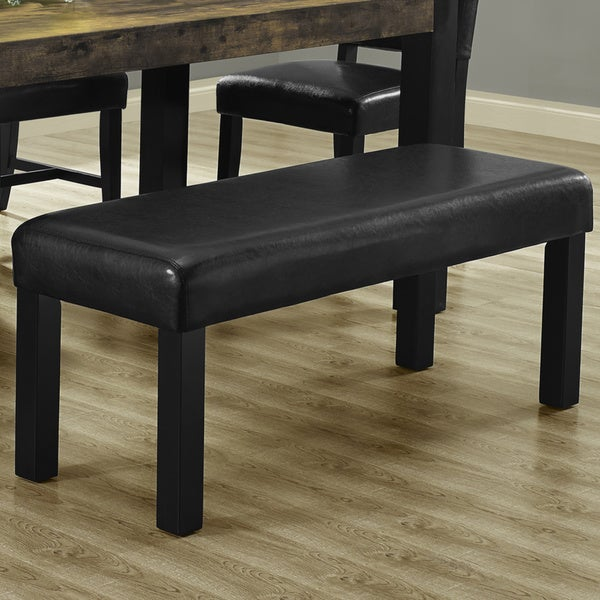 Shop Black Leather Look Dining Bench Free Shipping Today