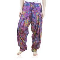 Handmade Women's Full Length Patiala Purple Dancer Pants with Scarf (India)
