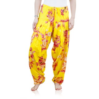 Handmade Women's Full Length Patiala Yellow Floral Print Dancer Pants (India)