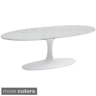 Flower Marble Top Oval Coffee Table
