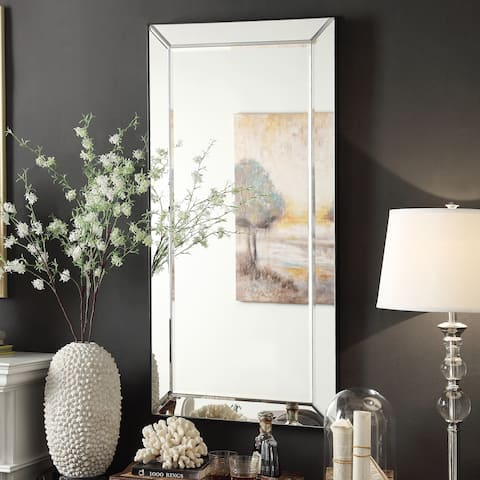 Conrad Mirrored Frame Rectangular Accent Wall Mirror by iNSPIRE Q Bold - Silver