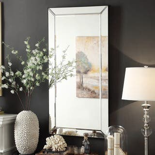 wall mirrors living room. Conrad Bevel Mirrored Frame Rectangular Accent Wall Mirror by iNSPIRE Q Bold Mirrors For Less  Overstock com
