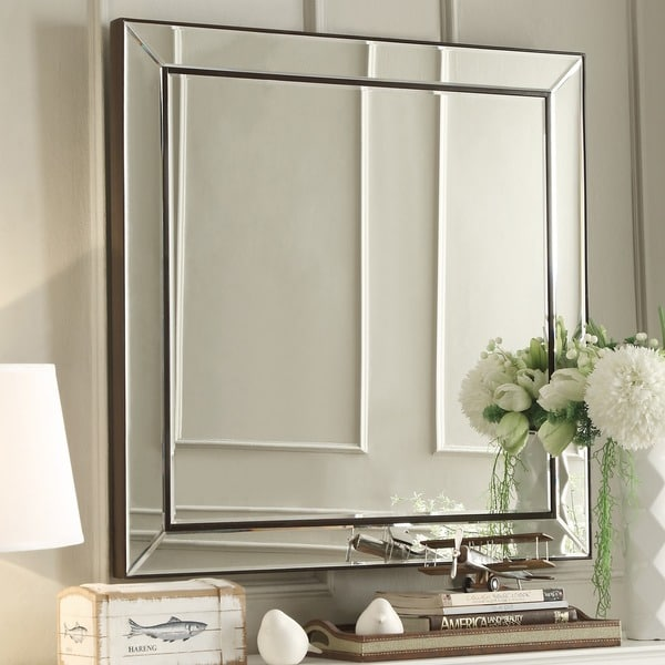 Brinkley Dark Brown Trim Mirrored Frame Square Accent Wall