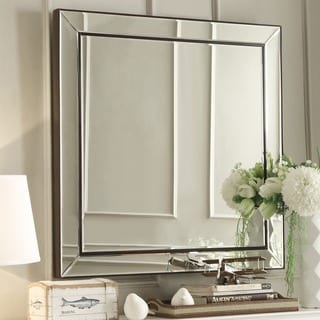 Brinkley Dark Brown Trim Mirrored Frame Square Accent Wall Mirror by INSPIRE Q