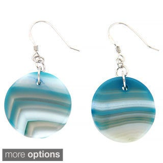 Pearlz Ocean Sterling Silver Blue Banded Agate Earrings