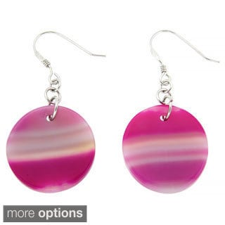 Pearlz Ocean Pink Banded Agate Earrings
