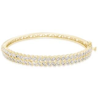 Finesque Gold Overlay Diamond Accent Leaf Bangle Bracelet