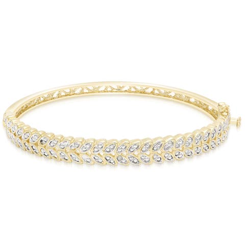 Finesque Gold Overlay Diamond Accent Leaf Bangle Bracelet