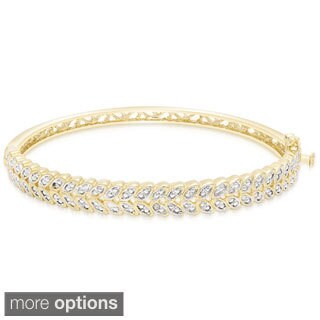 Finesque Gold Overlay Diamond Accent Leaf Bangle Bracelet (3 options available)