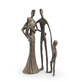 Family of Four Cast Bronze Sculpture