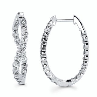 Boston Bay Diamonds 14k White Gold 1 1/2ct TDW Diamond Inside Out Oval Twisted Hoop Earrings (I-J, I1-I2)