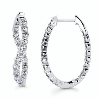 Boston Bay Diamonds 14k White Gold 1.50ct TDW Diamond Twisted Hoop Earrings (I, I1)