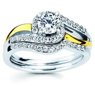 Boston Bay Diamonds 14k Two-tone Gold 7/8ct TDW Diamond Bridal Engagement Ring Set (I-J, I1-I2)