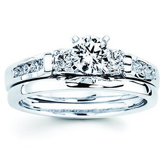 Boston Bay Diamonds 14k White Gold 3/4ct TDW Diamond Bridal Engagment Ring Set (I-J, I1-I2)