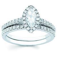 Boston Bay Diamonds 14k White Gold 1.00ct TDW Diamond Marquise Halo Bridal Engagement Ring Set