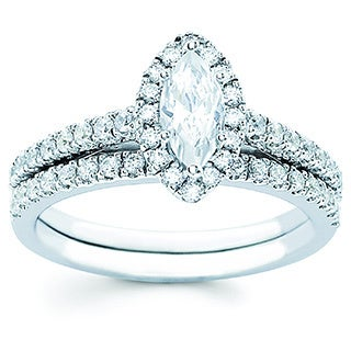 Boston Bay Diamonds 14k White Gold 1.00ct TDW Diamond Marquise Halo Bridal Engagement Ring Set