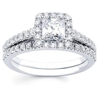 Boston Bay Diamonds 14k White Gold 1.33ct TDW Diamond Princess Halo Wedding Engagement Bridal Ring Set