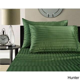 Luxury Egyptian Cotton Sateen 500 Thread Count Deep Pocket Damask Stripe Sheet Set