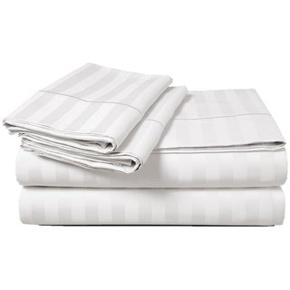 Luxury Egyptian Cotton Sateen 500 Thread Count Extra Deep Pocket Damask Stripe Sheet Set