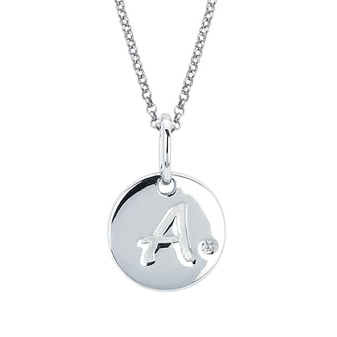 Little Diva Diamonds Girl's 925 Sterling Silver .01ct TDW Diamond Accent Initial Disc Pendant w/ Chain