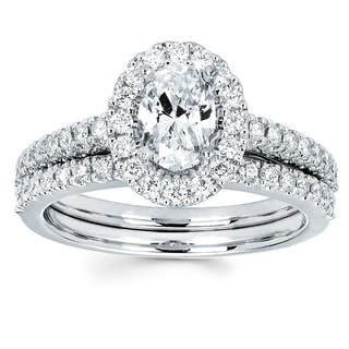 Boston Bay Diamonds 14k White Gold 3/4ct TDW Oval-cut Diamond Bridal Set (I-J, I1-I2)