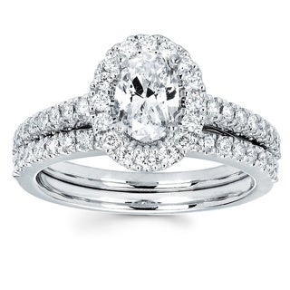 Boston Bay Diamonds 14k White Gold 3/4ct TDW Oval Diamond Wedding Engagement Bridal Ring Set