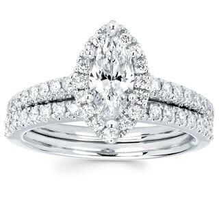 Boston Bay Diamonds 14k White Gold 4/5ct TDW Marquise-cut Diamond Bridal Set (I-J, I1-I2)
