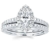 Boston Bay Diamonds 14k White Gold 4/5ct TDW Marquise Diamond Halo Wedding Engagement Bridal Ring Set