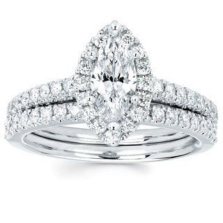 Boston Bay Diamonds 14k White Gold 4/5ct TDW Marquise Diamond Halo Wedding Engagement Bridal Ring Set