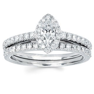 Boston Bay Diamonds 14k White Gold 1/4ct TDW Marquise Diamond Halo Wedding Engagement Bridal Ring Se
