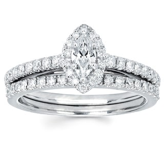 Boston Bay Diamonds 14k White Gold 1/4ct TDW Marquise Diamond Halo Wedding Engagement Bridal Ring Set (I-J, I1-I2)