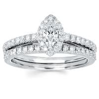 Boston Bay Diamonds 14k White Gold 1/4ct TDW Marquise Diamond Halo Wedding Engagement Bridal Ring Set (I-J, I1-I2)