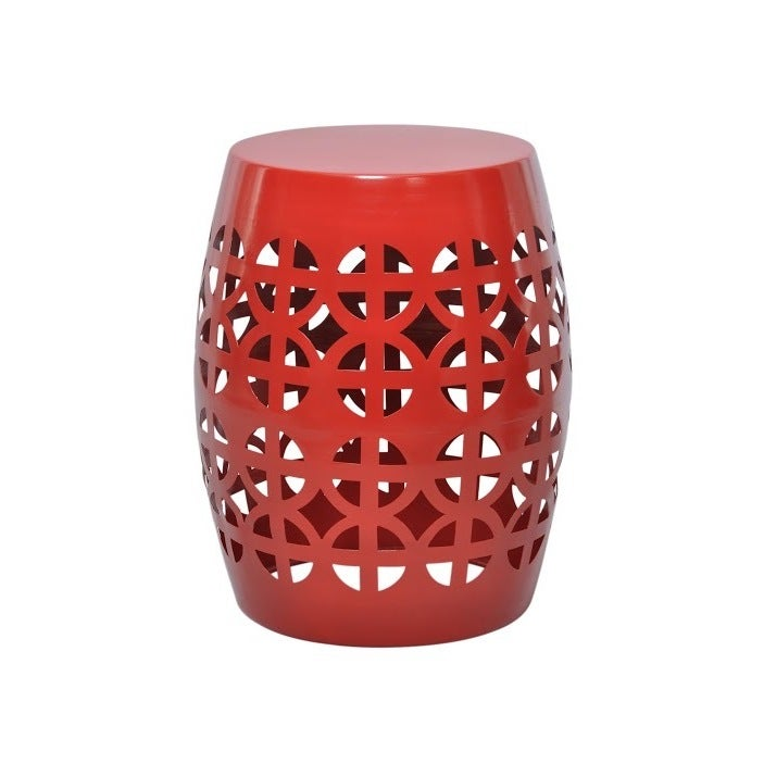 Artisan Red Garden Stool/ Side Table