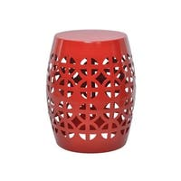 The Curated Nomad Crystal Moon Red Garden Stool/Side Table