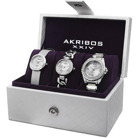 Akribos XXIV Women's Quartz Diamond Dial Silver-Tone Strap/Bracelet Watch Set