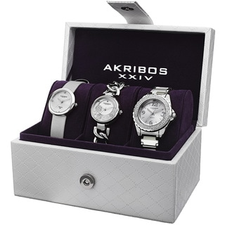 Akribos XXIV Women's Quartz Diamond Dial Silver-Tone Strap/Bracelet Watch Set