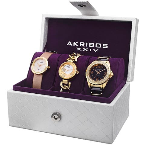 Akribos XXIV Women's Bracelet Fashion Watch 3-Piece Box Set