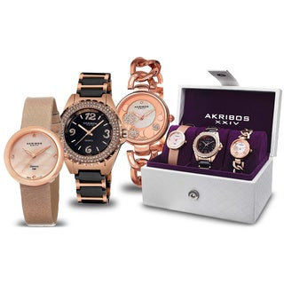 Akribos XXIV Women's Quartz Diamond Dial Strap/Bracelet Watch Set