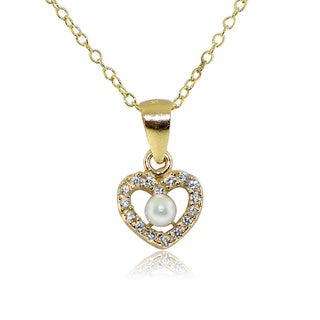 Gioelli Gold over Silver Children's Pearl and Cubic Zirconia Heart Necklace